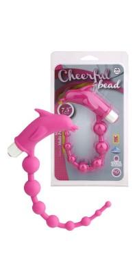 Анальный вибростимулятор розовый 19 см Cheerful Bead Dolphin