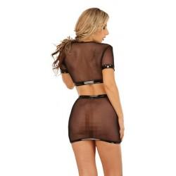 Блуза-сетка с короткими рукавами /чер/-S