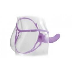 Вибратор поясной для него и для нее 8'', 7 режимов вибрации, фиолетовый, силикон