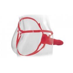 Вибратор поясной для него и для нее 9'', 7 режимов вибрации, красный, силикон