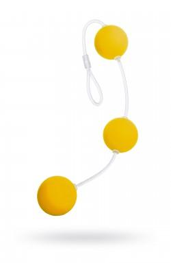 Вибраторы/Реалистик - Анальные шарики 19,5см желтые