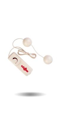 Вагинальные шарики Dream Toys с вибрацией, белые, Ø3,5 см